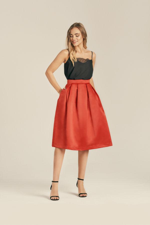 Satynowa stylowa spódnica